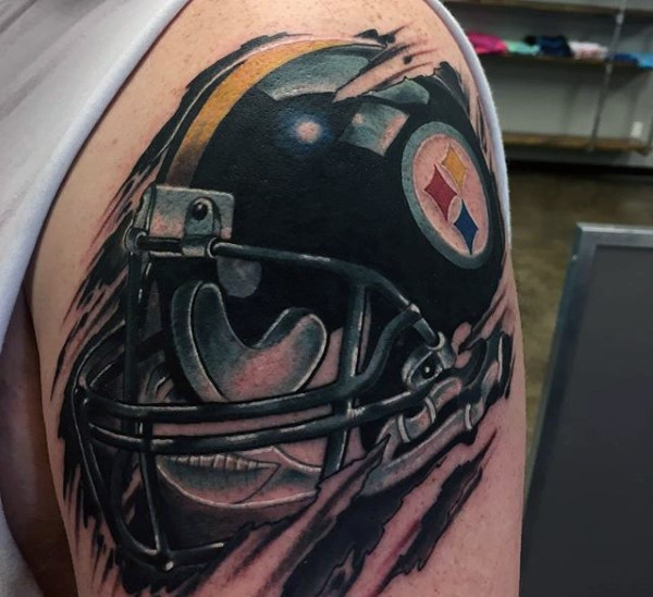 New school style colored shoulder tattoo of American football player helmet