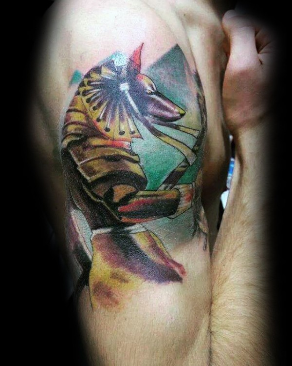 Illustrative style colored shoulder tattoo of big Egypt statue with pyramids