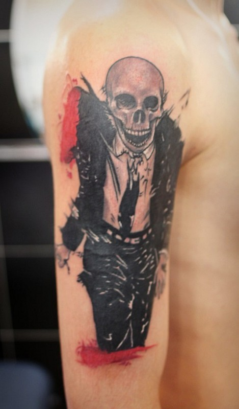 New school style colored shoulder tattoo of skeleton with suit