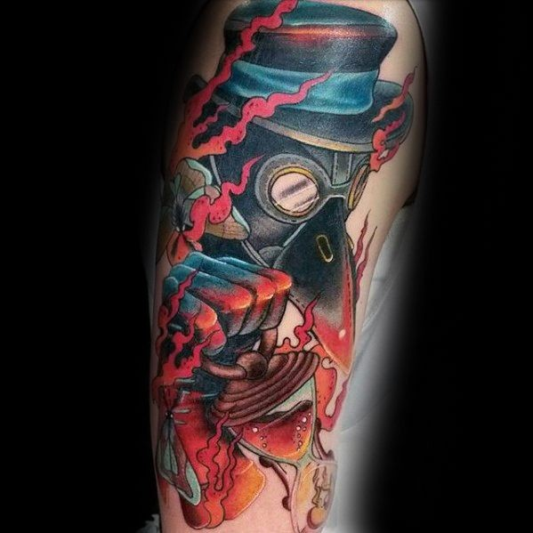 New school style colored shoulder tattoo of burning plague doctor with sand clock