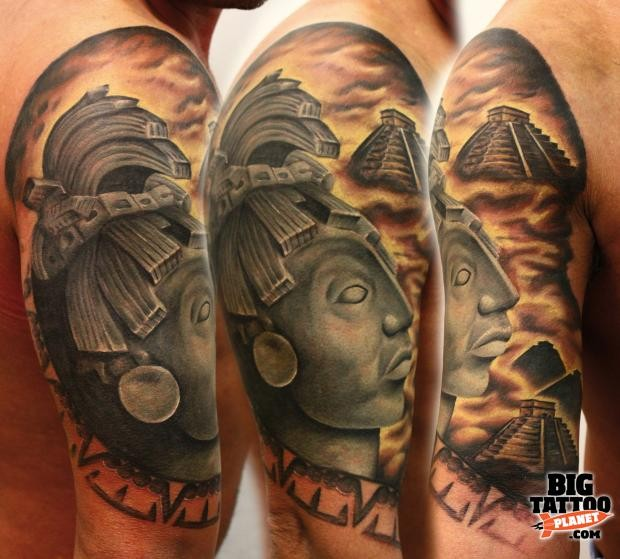 Illustrative style colored shoulder tattoo of stone Mayan statue with big temple