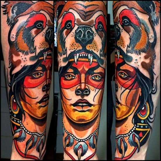Illustrative style colored arm tattoo of fantasy woman with bear helmet