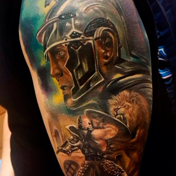 Illustrative style colored shoulder tattoo of ancient warriors with lion