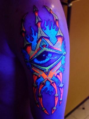 Unrealistic fantasy black light tattoo