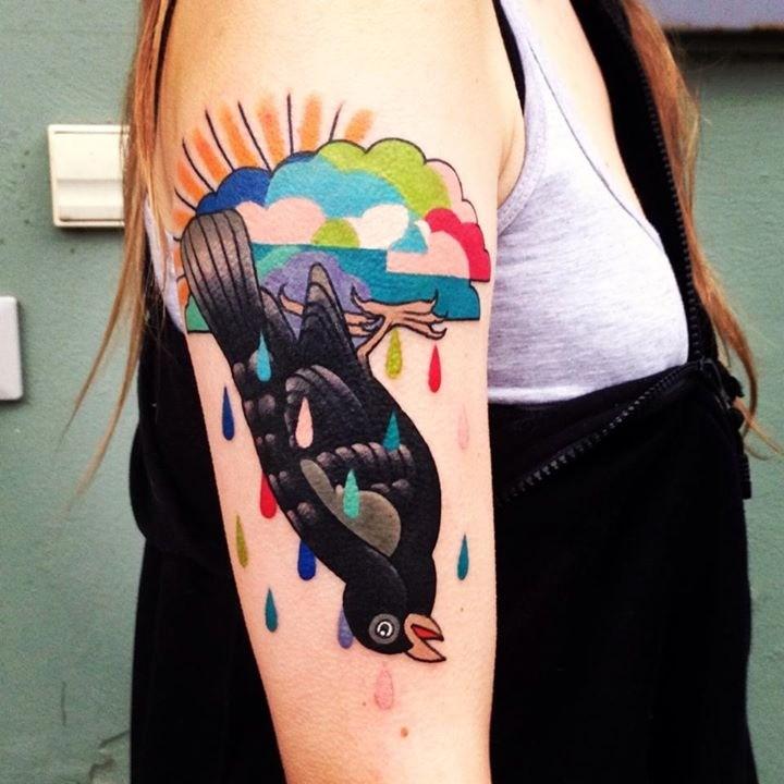 Unusual bird tattoo