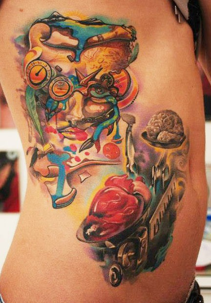 Unusual combined abstract style colored human brain and heart on libras tattoo on side stylized with mystical mask