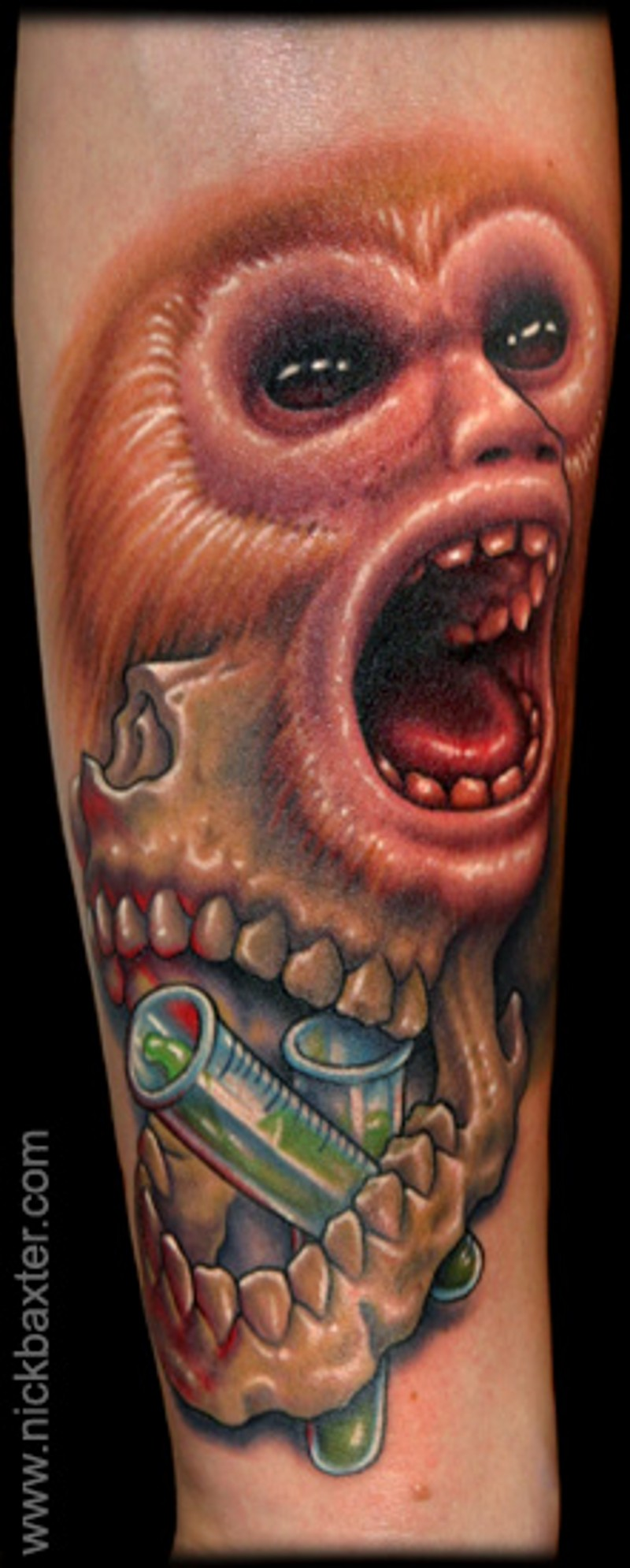 Unusual combined alive monkey face tattoo on forearm combined with skull and tubes