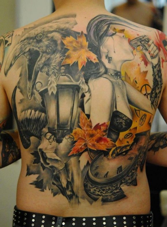 Unusual combined big colored woman with gun and crow tattoo on whole back