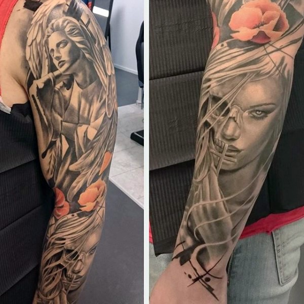 Unusual combined black and white angel statue and demonic woman portrait tattoo with colored wildflowers