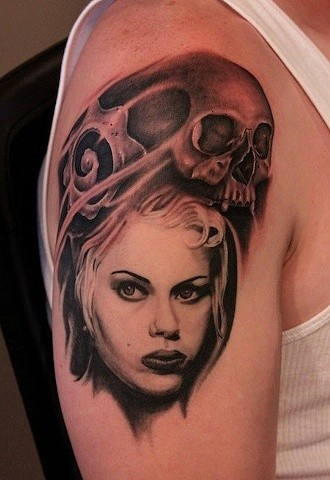 Unusual combined black and white woman face with human skull