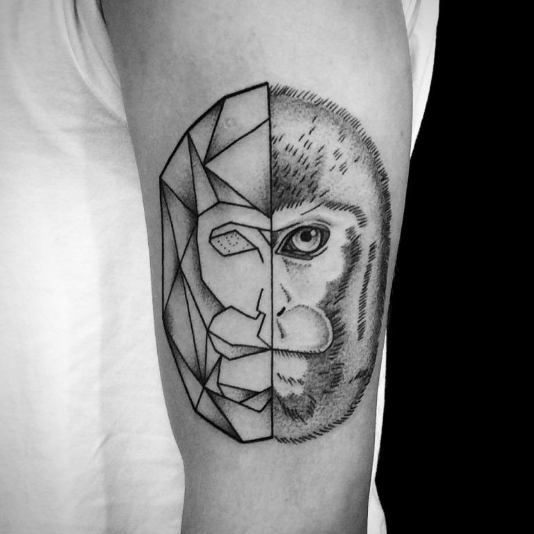 Unusual combined black ink half natural half geometrical for Ink monkeys tattoo