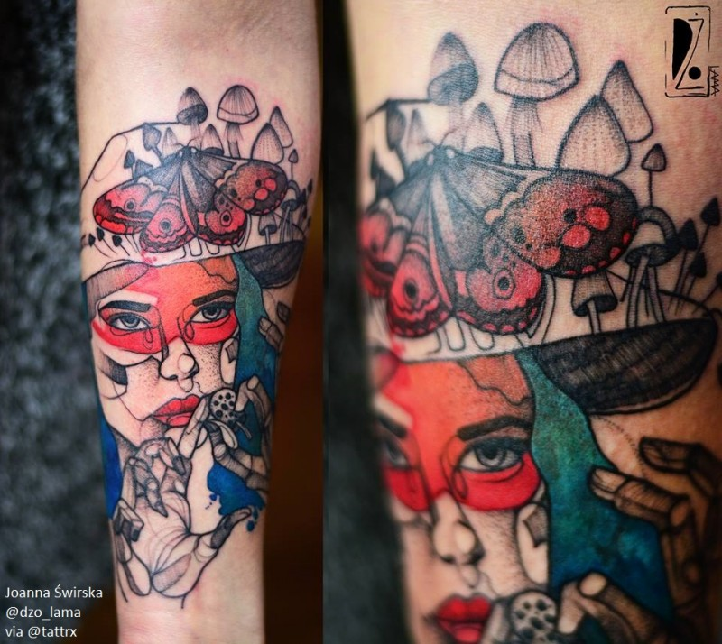 Unusual combined colored forearm tattoo of woman portrait by Joanna Swirska stylized with strange hat
