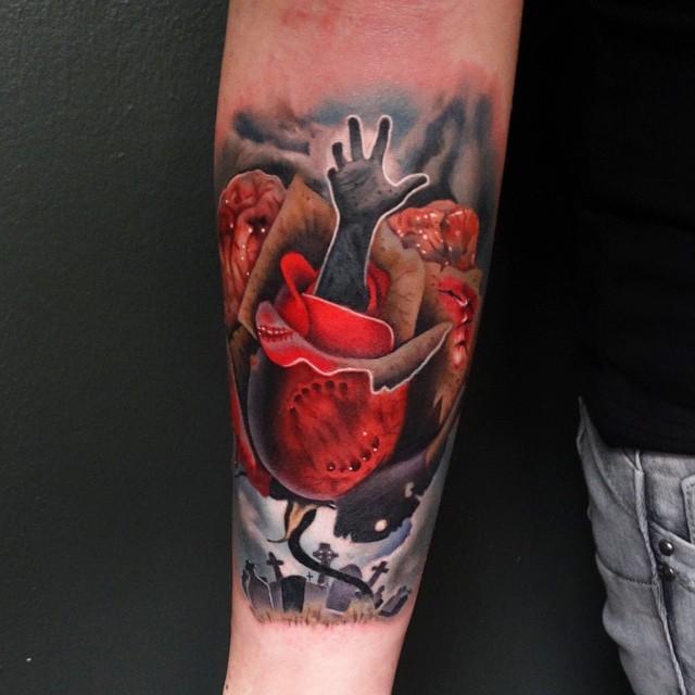 insolito combinazione raccapricciante mada rosa su cimitero tatuaggio su braccio