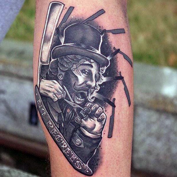 Unusual combined funny man with scissors and razor blade tattoo on arm