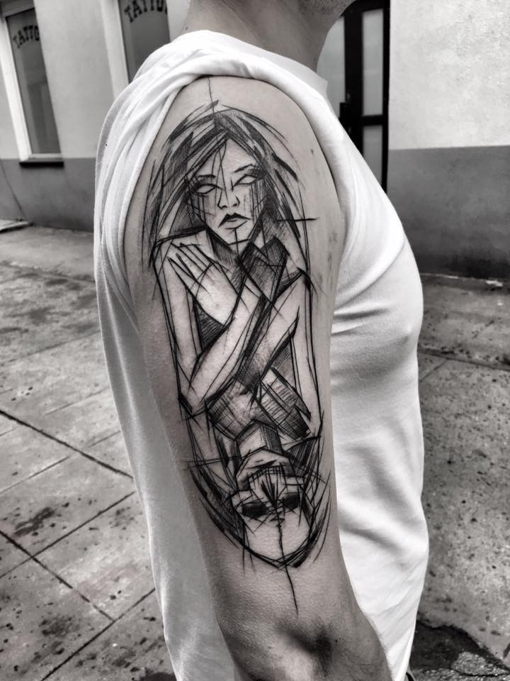 Unusual combined linework style half sleeve tattoo of woman with skeleton by Inez Janiak