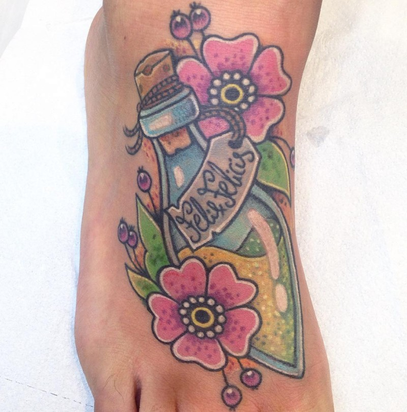 Unusual combined magical bottle tattoo on foot with flowers