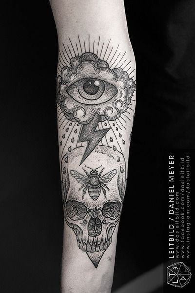 unusual combined mystical cult like tattoo with skull and cloud with eye on arm. Black Bedroom Furniture Sets. Home Design Ideas