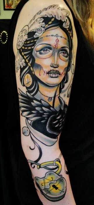 Unusual day of the dead girl with black raven and lock for Ravens face tattoos