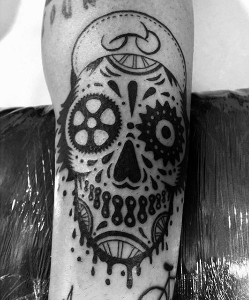 Unusual design black and white Mexican style skull tattoo with paint drips