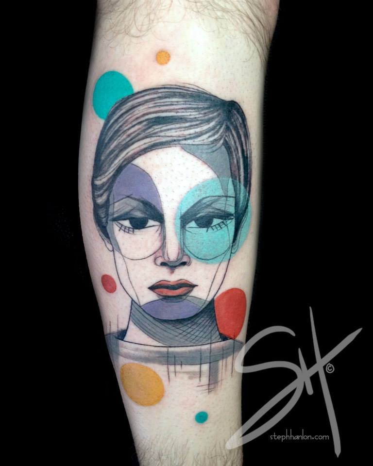 Unusual designed and colored leg tattoo of woman face with colored circles