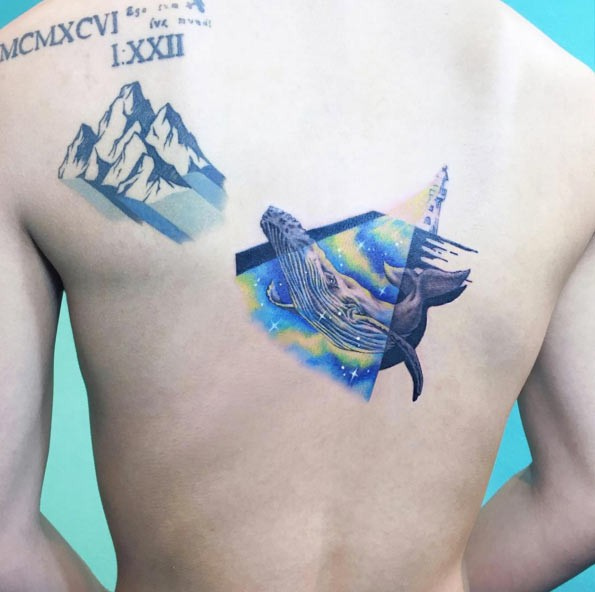 Unusual designed big whale tattoo in lighthouse light on back