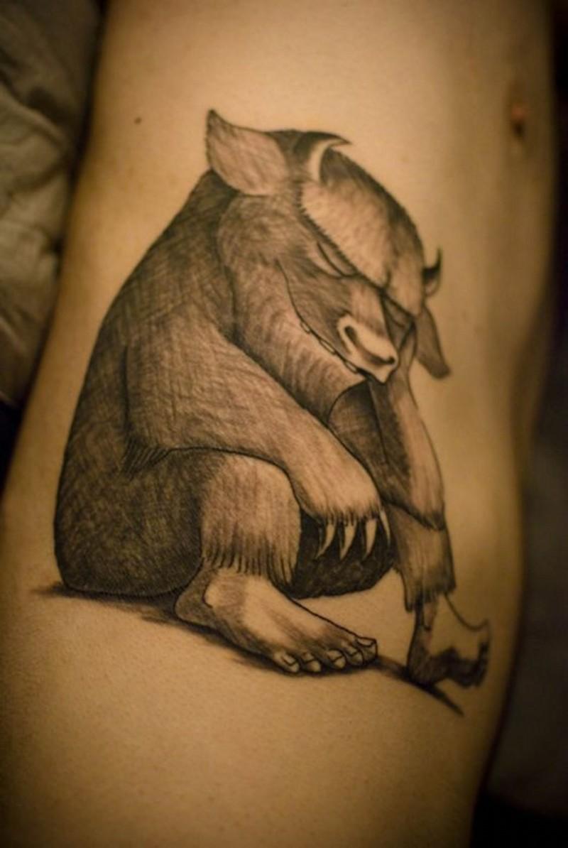 Unusual designed black and white animal tattoo on side