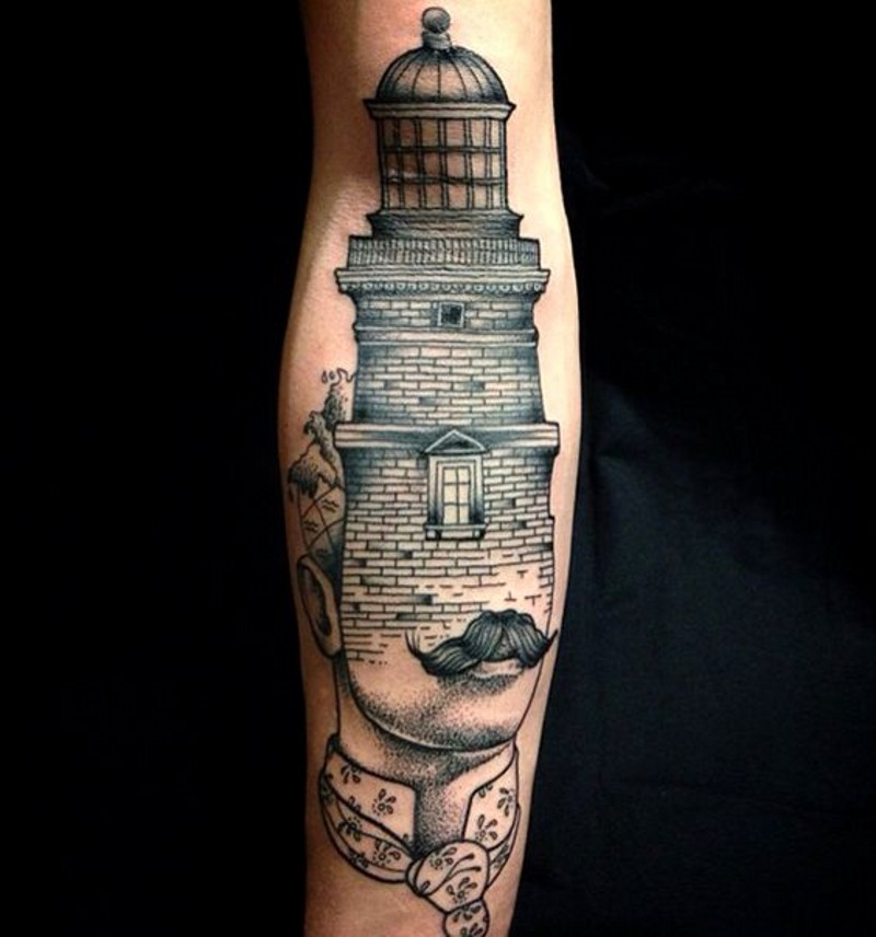 Unusual designed black and white half man half lighthouse tattoo on arm