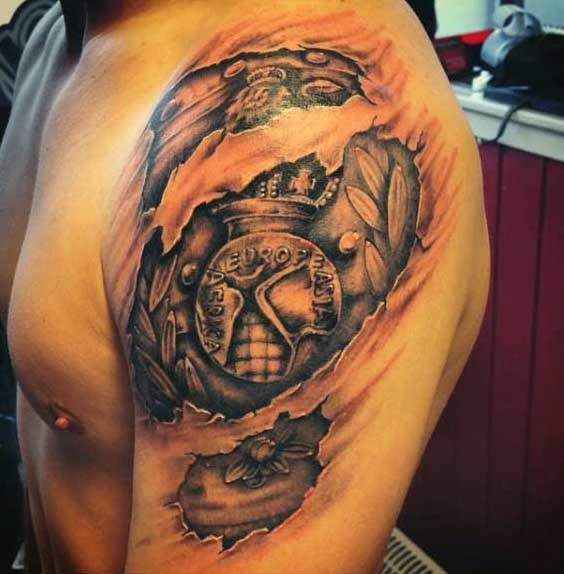 unusual designed black and white mystical shoulder tattoo