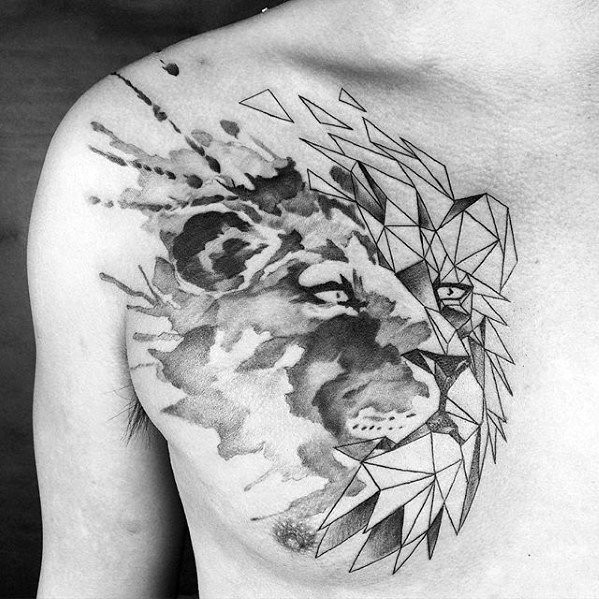 Unusual designed black ink chest tattoo of lion head with geometrical figures