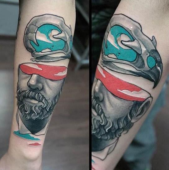 Unusual designed colored half man portrait tattoo combined with animal skull