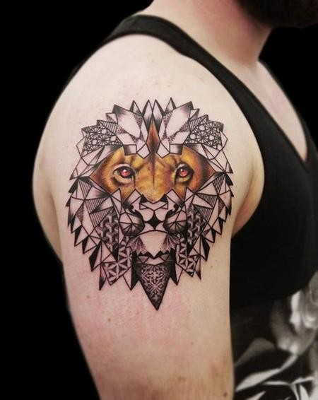 Unusual designed colored half real half ornaments lion tattoo on shoulder area