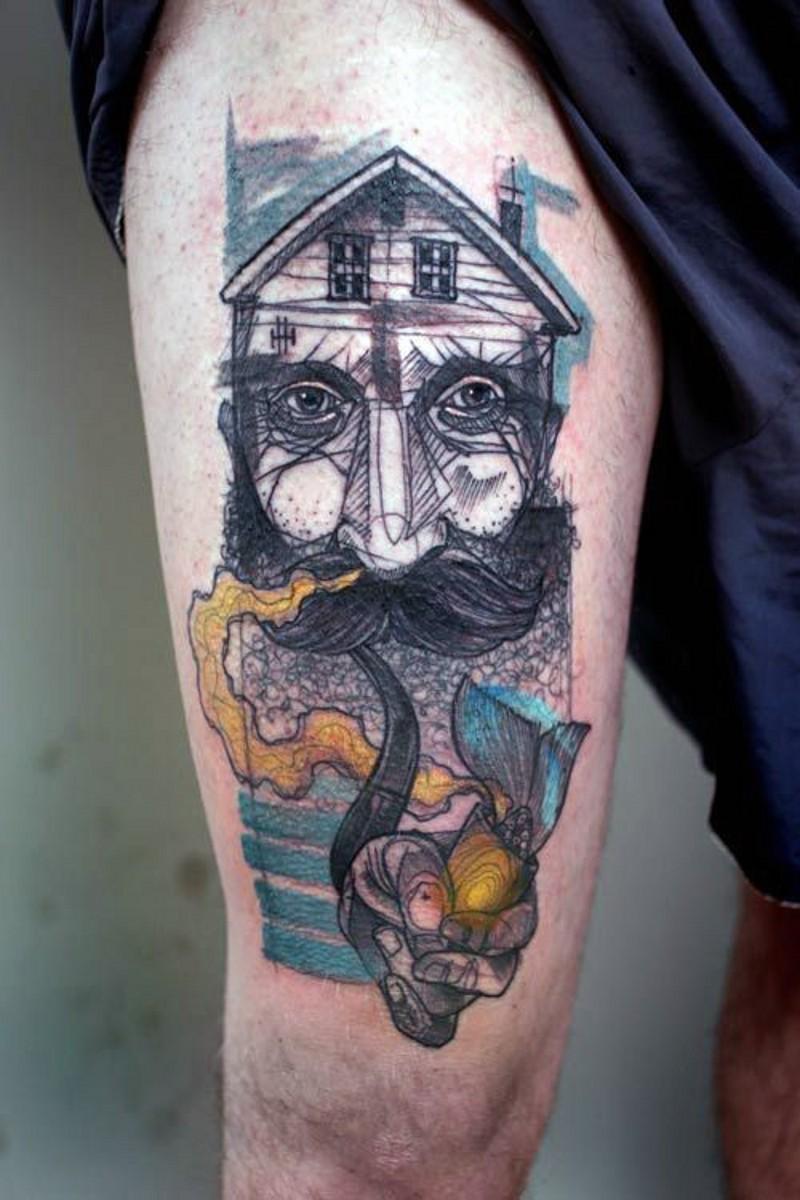 insolito dipinto uomo a forma di casa tatuaggio su coscia