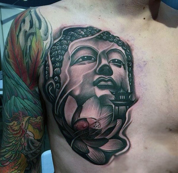 Unusual engraving style large chest tattoo of Buddha statue and lotus
