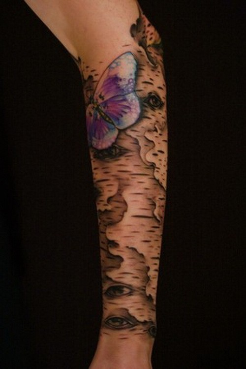 Unusual gray-ink bark and violet butterfly tattoo sleeve on forearm
