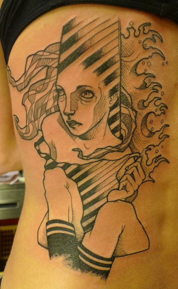 Unusual homemade style black ink side tattoo of fantasy woman