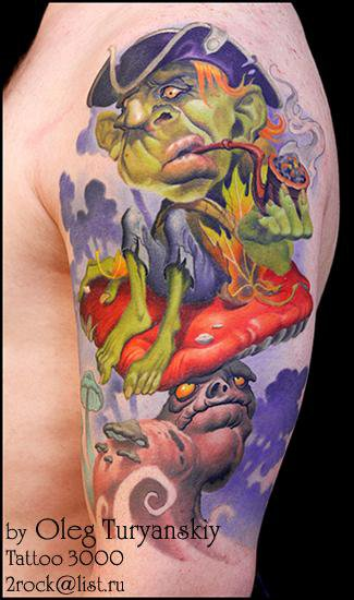 Unusual looking colored illustrative style smoking little monster with mushrooms tattoo on shoulder