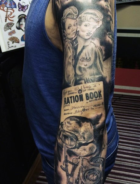 Unusual painted black and white military women tattoo on sleeve