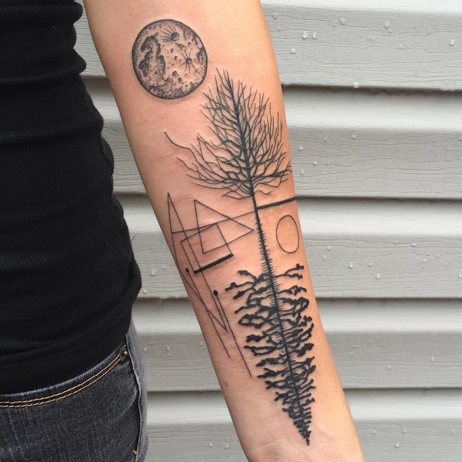 Unusual painted black ink forearm tattoo of various trees and moons with geometrical figures