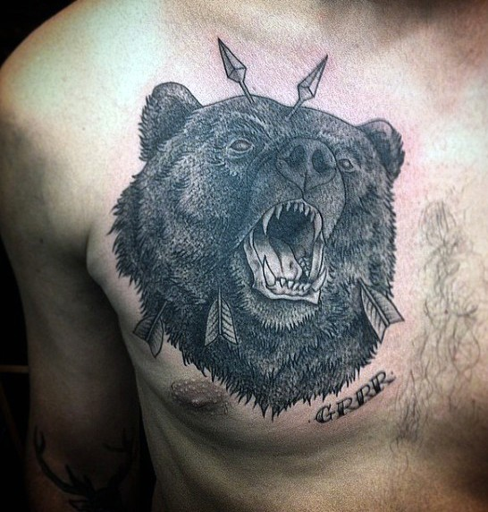 Unusual painted black ink roaring bear with arrows in head and lettering tattoo on chest