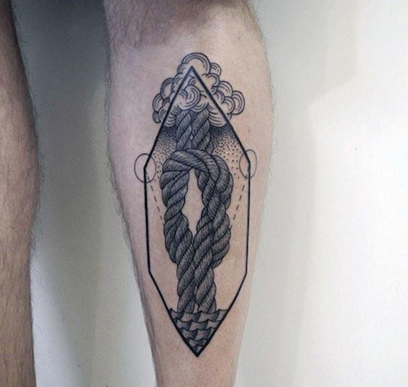 Unusual style big little black ink knot tattoo on leg