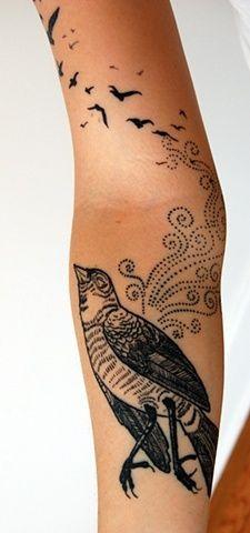 insolito stile nero e bianco bellissimo uccello tatuaggio su braccio