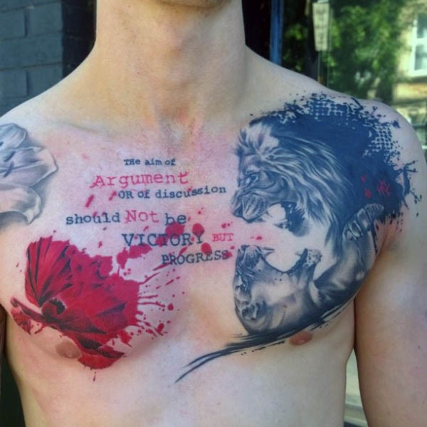Unusual style combined colored fighting lions with flower and lettering tattoo on chest