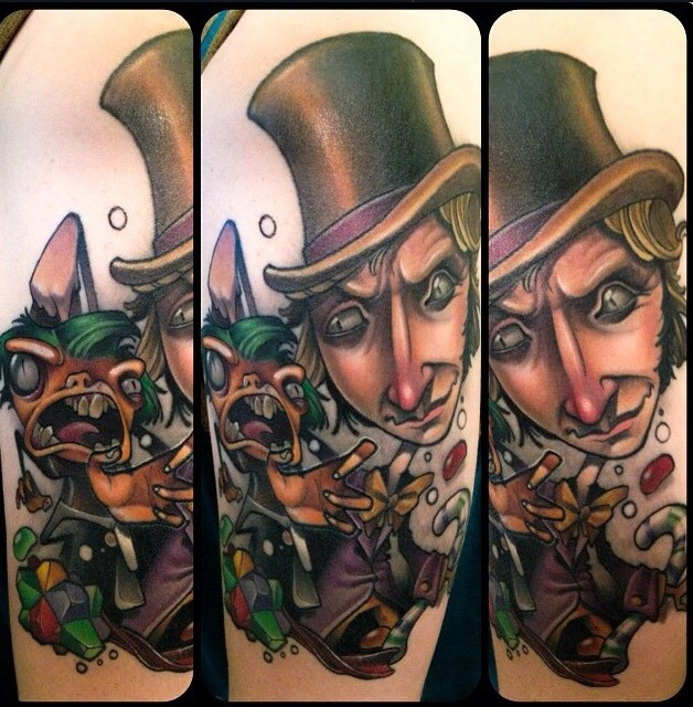 Unusual style designed and colored evil man portrait on shoulder with monster rabbit