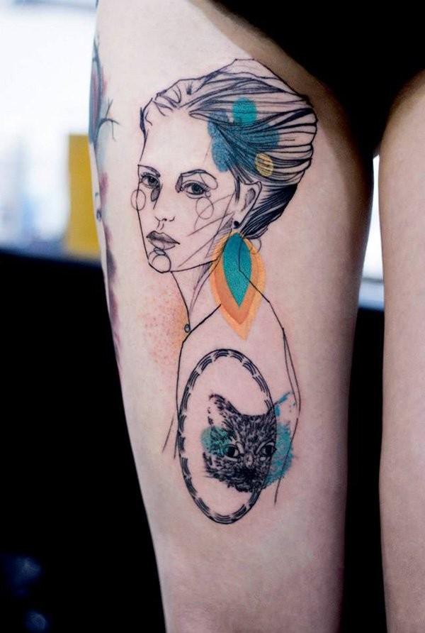 insolito stile dipinto astratto colorato uomo tatuaggio su coscia