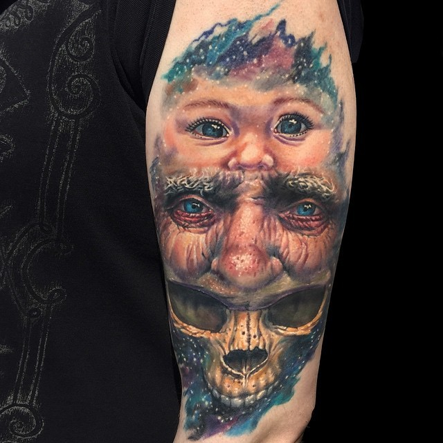 Unusual unique designed realism style colored human life cycle tattoo on forearm
