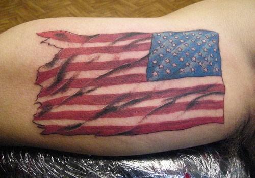 Us flag tattoo on arm