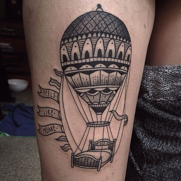 Usual black ink big balloon with bed tattoo combined with lettering