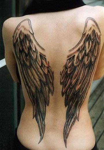 Usual designed and colored big wings tattoo on whole back