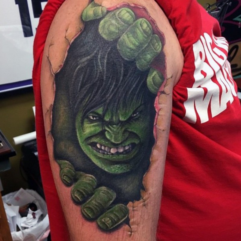 Usual designed colored under skin angry Hulk tattoo on upper arm