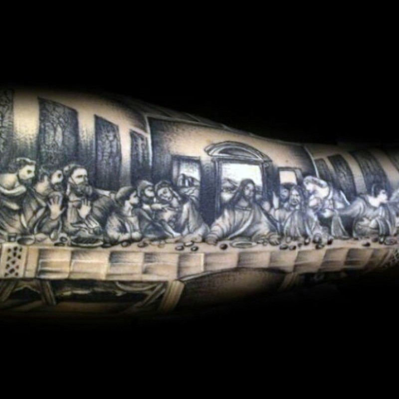 Usual homemade like black ink Lord&quots Supper picture tattoo on arm